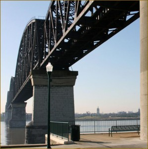The Big Four Bridge, a formerly abandoned railroad bridge, has been converted into an important bicycle and pedestrian transportation link between the cities of Louisville, Kentucky and Jeffersonville, Indiana.
